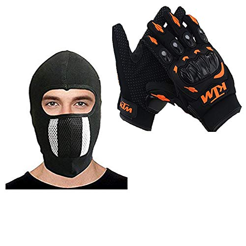 American Lion Men/Women Unisex Leather Motorcycle Gloves & Cotton Cycling Anti-Dust Full Face Mask With Filter_Black/Blackfree Size_Assorted Colors
