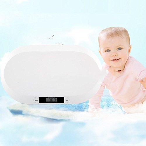 GJJ Básculas Electrónicas De Alta Precisión para Bebés - Básculas Electrónicas para Mascotas - Básculas para Bebés - Balanzas De Baterías,Blanco