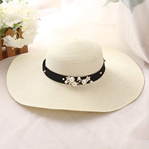 CYRYR Frühling Sommer Hüte Für Frauen Blume Perlen Breiter Krempe Hut Sonnenblende Strand Hutmilk White Milk White (Abteilung 56-boot)