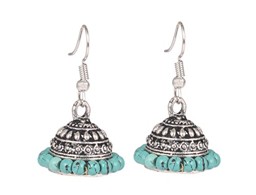 Sansar India Oxidized Silver Plated Handmade Beaded Traditional Jhumka Earrings for Girls and Women