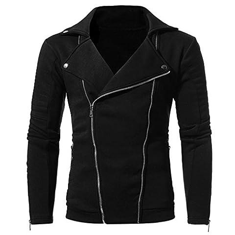 Sannysis Männer Langarm Cardigan Sweatshirt Tops Jacke Mantel Outwear Strickjacke (L, Schwarz)