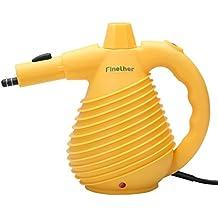 Finether-Limpiador Eléctrico de Vapor de Mano con 12 Accesorios (1500W, Presurizado, Multiusos, para Limpieza y Desinfección, Auto-apagado, Certificado GS EMC y CE), Amarillo