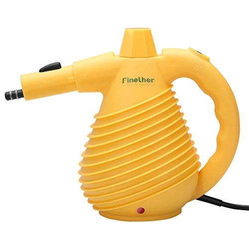 Finether-Limpiador Eléctrico de Vapor de Mano con 12 Accesorios (1500W, Presurizado, Multiusos,...