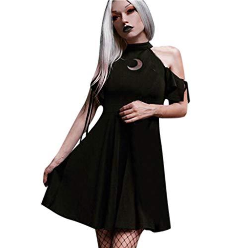 AMhomly Estilo gótico de la Moda de Las Mujeres Negro Retro Fuera del Hombro Luna Ahueca hacia Fuera el Vestido