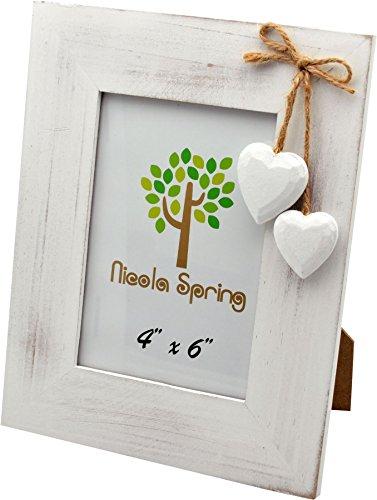 Nicola spring, cornice portafoto, in legno, colore bianco, con cuori bianchi, da 10 x 15 cm