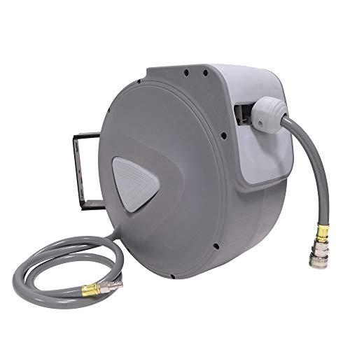UISEBRT Schlauchtrommel Automatik Druckluft 30m - Druckluftschlauch Aufroller Wandschlauchhalter Grau (30m) - Decken Wand Outlet