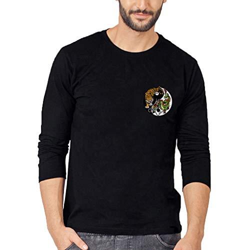 (UJUNAOR Frühling Herren Rundhalsausschnitt Langarm Top Lässig Gedruckt T-Shirt Bluse(Schwarz,CN M))