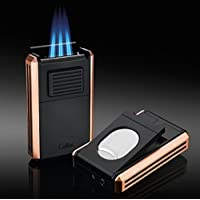 Colibri Astoria rose Gold Triple jet Lighter with fold-out Cigar cutter New
