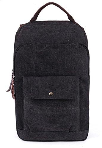 &ZHOU Borsa di tela, duplice uso multi-funzionale tela borsa a tracolla borsa da viaggio retrò per il tempo libero, casual borsa a tracolla, borsa di petto, zainetto zaino computer , coffee color Black