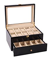 Feibrand Double Layer Wooden Watch Display Storage Box Case for 20 Watches Black