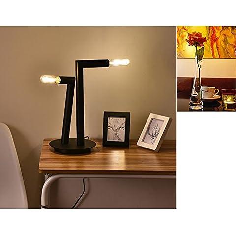 Creativo doble moderna - Cabezas de Hierro Negro de lámpara de noche dormitorio del estudio de la obra de lámparas