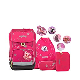 Ergobag-cubo-Light-CinBrella-ergonomischer-Schulrucksack-extra-leicht-Set-6-teilig-19-Liter-780-g-Pink