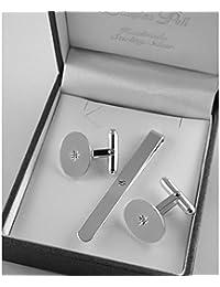 Broche de plata de ley con forma de diamantes para se desliza y se juego de gemelos con diseño hecho a mano en caja de regalo