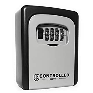 Ultra Tough Key Safe By CONTROLLED SECURITY. Wall Mounted Key Lock Box For Key Storage. Perfect For Key And Valuable Storage. Extremely Robust Key Box, With Easily Re-Settable 4 Digit Dial Lock.