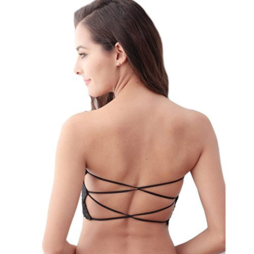 BJAC Padded Strapless Tube Top Criss-Cross Sexy Lace Tube Bra