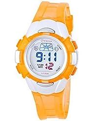 Montre femme quartz digitale orange sport chrono alarme etanche