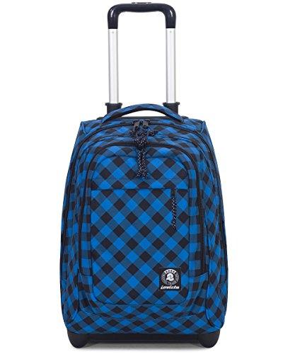 Trolley invicta - extra - bump - blu plaid - 45 lt spallacci a scomparsa! uso zaino scuola e viaggio