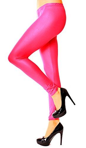 Damen Glanz Leggings Leggin Skinny Stretch Formend Funktionsleggings Sportleggings Glänzend Lang Uni Einfarbig Lang One Size Rosa Pink (Hot Glanz Pink)