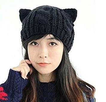 Honeysuck Lady Cat Ohren Stil Strick Wolle Winter Warm Mützen Gap–Schwarz (Kitty Hut Womens)