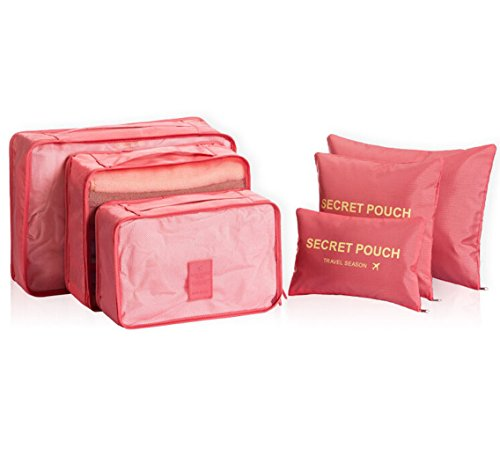 6 Set Packtaschen Kofferorganizer Reisetasche Beutel Kleidertasche Kulturtasche Schuhtasche Koffer Organizer Aufbewahrungstasche aus Nylon HIMMELBLAU Orangerot