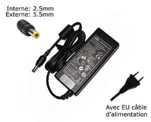 """AC Adaptateur secteur pourToshiba Satellite C850 C850-1MT C850-1NL C850-1NU C850D-11Qchargeur ordinateur portable, adaptateur, alimentation """"Laptop Power (TM)"""" de marque (avec garantie 12 mois et câble d'alimentation européen)"""