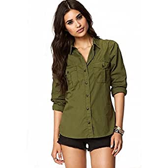 POISON IVY women's Casual Army Military Green Shirt (Z-Olive, Small)