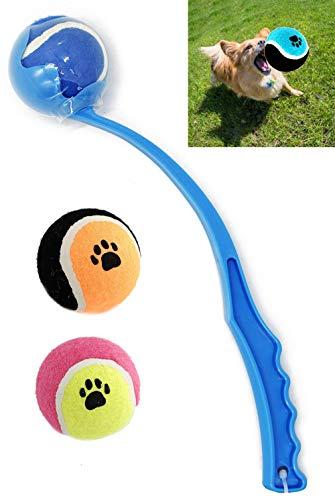 BPS Interaktives Spielzeug Ballschleuder für Hunde Haustiere 2 Bälle Geschenke für Haustiere 3 Größen Farbe zufällig