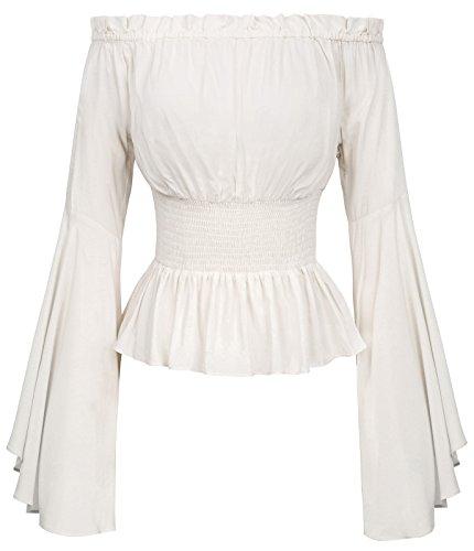 Camisa de Las Edades Medias Blusa de Las señoras Blusa Blanca...