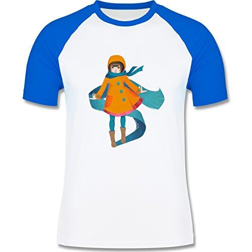 Statement Shirts - Herbstspaziergang - zweifarbiges Baseballshirt für Männer Weiß/Royalblau
