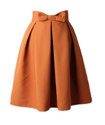 Uideazone Damen Damen Normal Farbe Weiß Midi Knielänge Rock Gelb,Asian XL = EU 40 (Britische Kleidung)