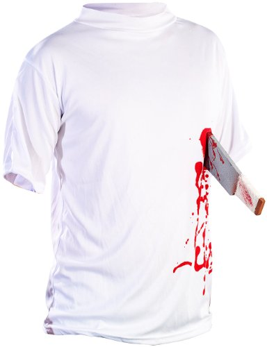 infactory Halloween-Party-Kostüm: Halloween T-Shirt Machete in der Brust, Gr. L (T-Shirt Kostüm) (Fake Kostüm Waffen)