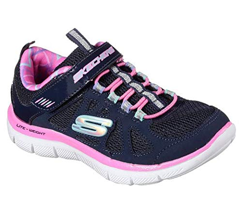 Skechers Skech Appeal 2.0 Simplistic Touch Fastening Trainer Navy/Hot Pink UK 12 (Skechers Mädchen 12)