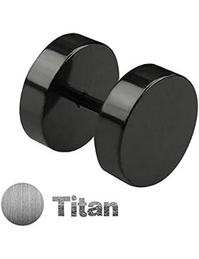 Treuheld® | TITAN FAKE PLUG Ohrstecker - 4 Größen: 4, 6, 8, 10 mm - Schwarz - Titanium (Nickelfrei) OHRRINGE HERREN...