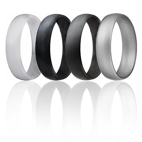 Silikon Hochzeit Ring für Männer von ROQ Günstigen Silikon Gummi Band, 4Pack & Singles–Camo, Metall Look Silber, Schwarz, Grau, Hellgrau, Black, Grey, Light Grey, Silver, 15.5 (23.7mm) (Infinity-hochzeit-band-für Männer)