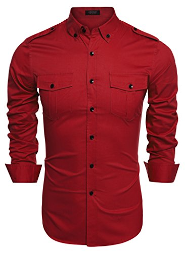 Coofandy Men's Casual Long Sleeve Turn Down Collar Dual Pockets Solid Shirt