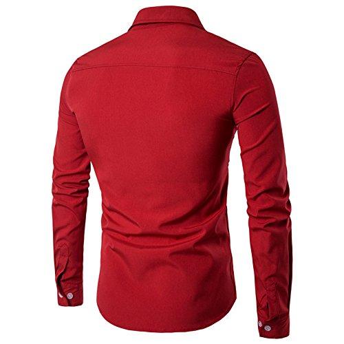 Swallowuk Uomo Camicie Maniche Lunghe Moda Shirts Slim Fit Casual Camicia (M, nero) rosso