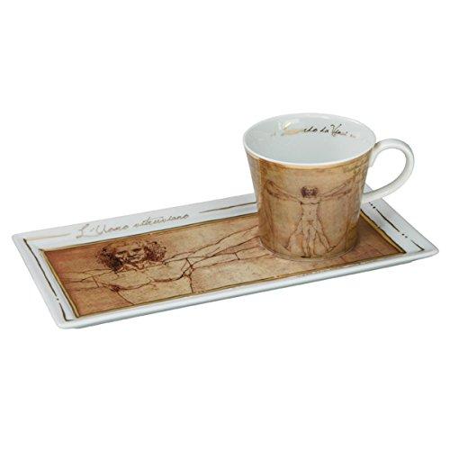 Goebel 66513748'Der vitruvianische Mensch Kaffee Set, Porzellan, bunt, 24 x 12 x 8 cm