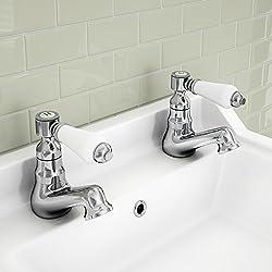 ENKI Vintage caliente fría doble grifos para lavabo tradicional cromado palanca de cerámica nuevo Kensington
