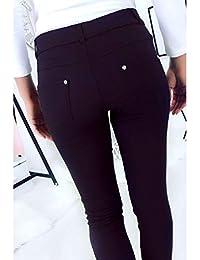 Miss Wear Line - Pantalon Slim Marine, très Extensible avec Poche Avant et  arrière 959f2f6b70e3