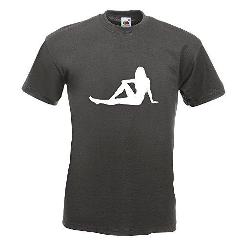 KIWISTAR - sexy Girl sitzend T-Shirt in 15 verschiedenen Farben - Herren Funshirt bedruckt Design Sprüche Spruch Motive Oberteil Baumwolle Print Größe S M L XL XXL Graphit