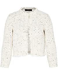 Hallhuber Bouclé Crop Jacket with Mini Sequins