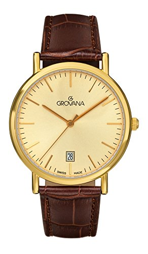 Grovana Men's Quartz Watch with Gold Dial Analogue Display and Brown Leather Strap 1229.1511