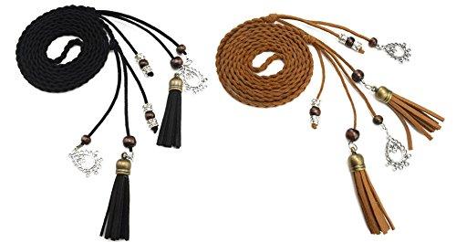 TY belt Exotische Damen Mädchen Gürtel Bauchkette mit Quaste und Holzperlen (schwarz tan) - Kind-tan-leder