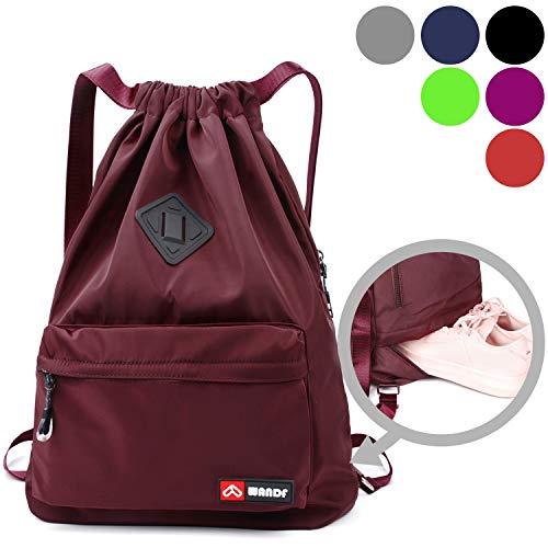 WANDF wasserdichte Rucksack mit Teleskopischem Schulterriemen, für Einkauf und Sport Yoga (Weinrot Upgrade)