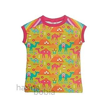 Shirt in Größe 116 mit bunten Dromedaren auf gelb vorne und kunterbunte Ringel hinten, Bündchen pink, 95% Baumwolle, 5% Elasthan