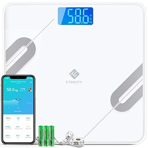 Etekcity Pèse Personne Impédancemètre, Balance Connectée, Pèse Personne Connecté Bluetooth, 12 Données Corporelles(BMI/Muscle/Eau/Graisse Corporelle/Masse osseuse) LCD-rétro, Ruban de Mesure
