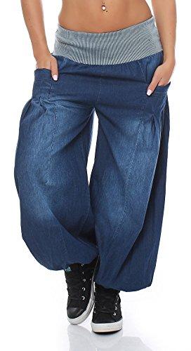 malito Damen Pumphose im Denim Style | perfekte Jeans zum Tanzen | Aladinhose zum Chillen | Haremshose – Goa 6258 (blau)