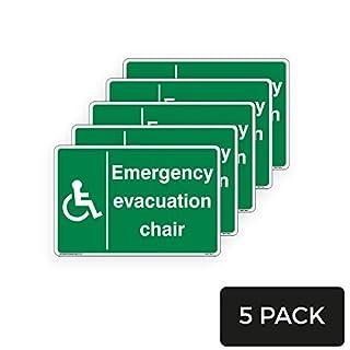 Notfall Evakuation Chair Schild - Standard [1,5 mm Hartplastik, 600 mm x 400 mm - A2] - 5 Stück