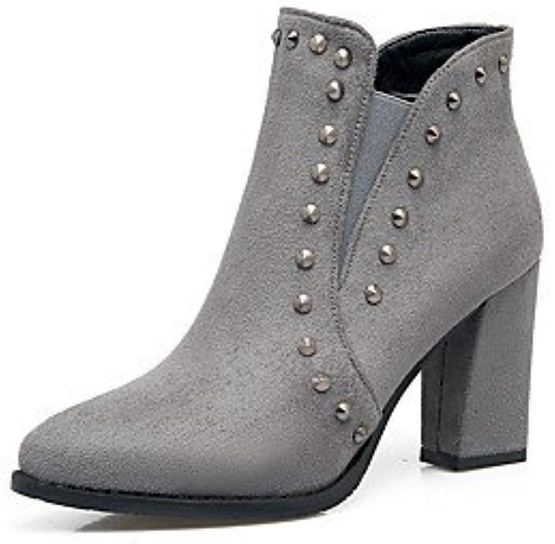 Heart&M Mujer Zapatos Cuero Nobuck Otoño Invierno Confort Botas Tacón Robusto Dedo Puntiagudo Remache Para Negro...