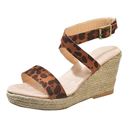 Frauen Open Toe Espadrille Mid Platform - Sommer verstellbare Riemchensandalen hinten - Fashion Ankle Buckle Peep Toe Wedges